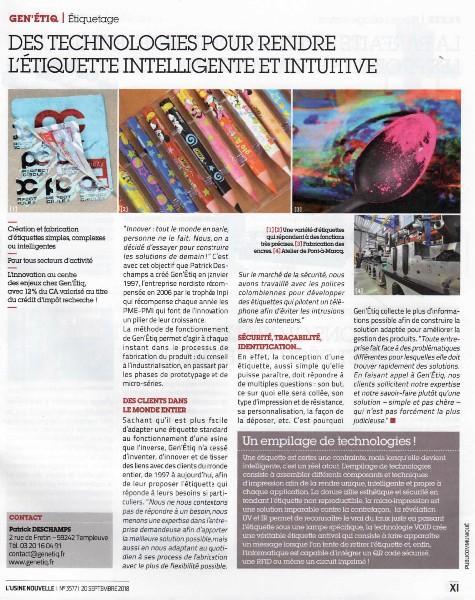 Article sur Gen'étiq, paru dans le magazine l'Usine Nouvelle, en Septembre 2018