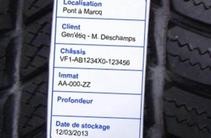 Etiquettes de gestion des pneumatiques hiver/été