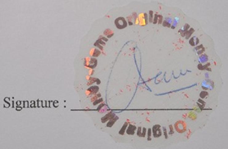 Etiquette d'authentification de signatures