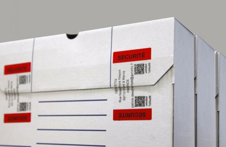 Etiquette fermeture de carton, grande distribution